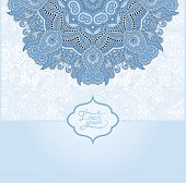 blue colour islamic vintage floral pattern