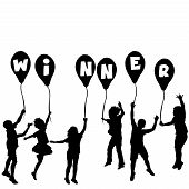 Winner Concept With Children Silhouettes And Balloons