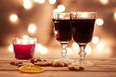 Two Glasses Of Mulled Wine With Gingerbread