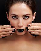 Beautiful Bright Evening Makeup Woman, Black Nails Polish And Black Lipstick