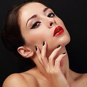 Sexy Makeup Female Glamour Model With Red Lipstick And Black Polish Finger Nails