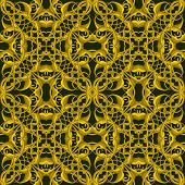 Rich Fantasy Golden Pattern With Fantastic Foliage Elements For Decor And Design.