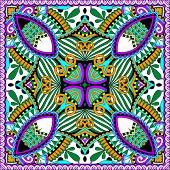 silk neck scarf or kerchief square pattern design
