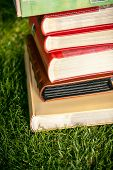 Stack Of Colored Book Lying On Grass At Sunny Day