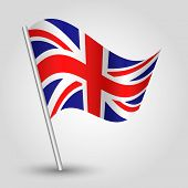 Vector 3D Waving English  Flag On Pole