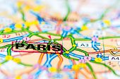 Close-up On Paris City On Map, Travel Destination Concept