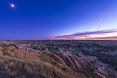 Moon Rise Over Badlands National Park