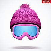 Knitted woolen cap with snow goggles. Winter seasonal sport hat. vector illustration