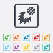 pic of fireball  - Basketball fireball sign icon - JPG