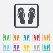 Flip-flops sign icon. Beach shoes.