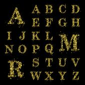 Sparkling font on black background. Alphabet of golden glittering stars (glittering font concept). Christmas holiday illustration of bokeh shining stars character..