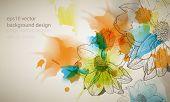 eps10 vector multicolor grunge vintage ink splatter with flower outline drawing background