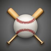 stock photo of baseball bat  - Vector dark background of baseball leather ball and wooden bats - JPG