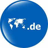 Domain De Sign Icon. Top-level Internet Domain Symbol With World Map