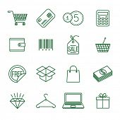 Shopping   thin line vector icon set