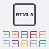 HTML5 sign icon. New Markup language symbol.