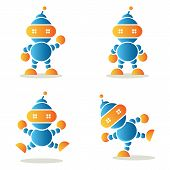 Set Of Dancing Robots, Vector Illustration