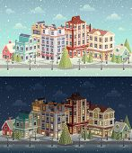 Christmas vintage cityscape and snowfall. Vector illustration.