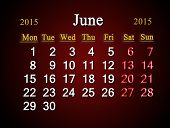 Calendar On June Of 2015 Year On Claret