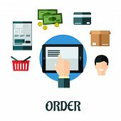 Order and shop online flat concept