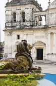 Lion Statue Fountain In Front Of Basilica Cathedral Of Asuncion Leon Nicaragua