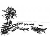 Boats at the pier, people and palm trees sketch. Hand drawn illustration