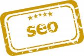 Seo, Search Engine Optimization Stamp Isolated On White Background