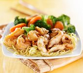 japanese chicken and shrimp teriyaki on noodles