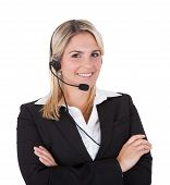 Beautiful Customer Service Representative With Arms Crossed
