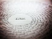 stock photo of handwriting  - the word love written on a lined piece of school paper in ink with a vignette and a circle of love  - JPG