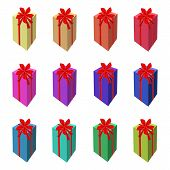 Set of Tall Gift Box with Red Ribbon