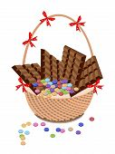 Brown Basket of Milk Chocolate and Chocolates Bar