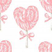 hand drawn pink lollipop heart seamless