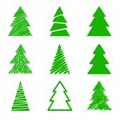 Set of nine Christmas trees. Different styles