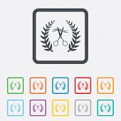 foto of barbershop  - Scissors cut hair sign icon - JPG
