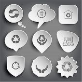 recycle symbol, wind turbine, protection of nature, chemical test tubes, human hands. White vector buttons on gray.