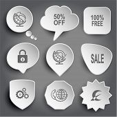 globe and arrow, 50% OFF, 100% free, closed lock, globe and handset, sale, gears, global communication, monetary sign. White vector buttons on gray.