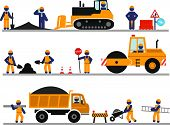 stock photo of road construction  - Construction of roads and buildings - JPG
