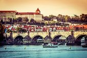 beautiful view of the Charles Bridge and other sights in Prague, Czech Republic