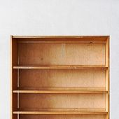 empty old retro wooden book shelf