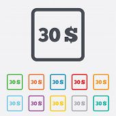 30 Dollars sign icon. USD currency symbol.