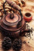 copper old tea-pot and accessories