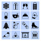 Winter icons set black and white
