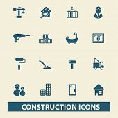 construction, room services, engineer icons, signs, illustrations set, vector