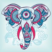 Vector Elephant on the Henna Indian Ornament