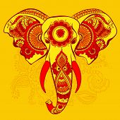 stock photo of indian elephant  - Vector Indian Decorative Elephant on the Henna Indian Ornaments - JPG