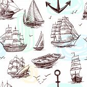 stock photo of tall ship  - Sailing tall ships frigates brigantine clipper yachts and boat sketch seamless pattern vector illustration - JPG