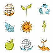 Ecology and waste icons set sketch