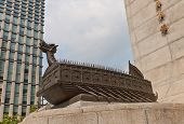 Turtle Ship Sculpture Of Admiral Yi Sun-shin Memorial In Seoul, Korea