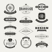 image of manufacturing  - Retro Vintage Insignias or Logotypes set - JPG
